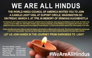 We Are All Hindus Candle Light Vigil against hate crimes against Hindus and Sikhs
