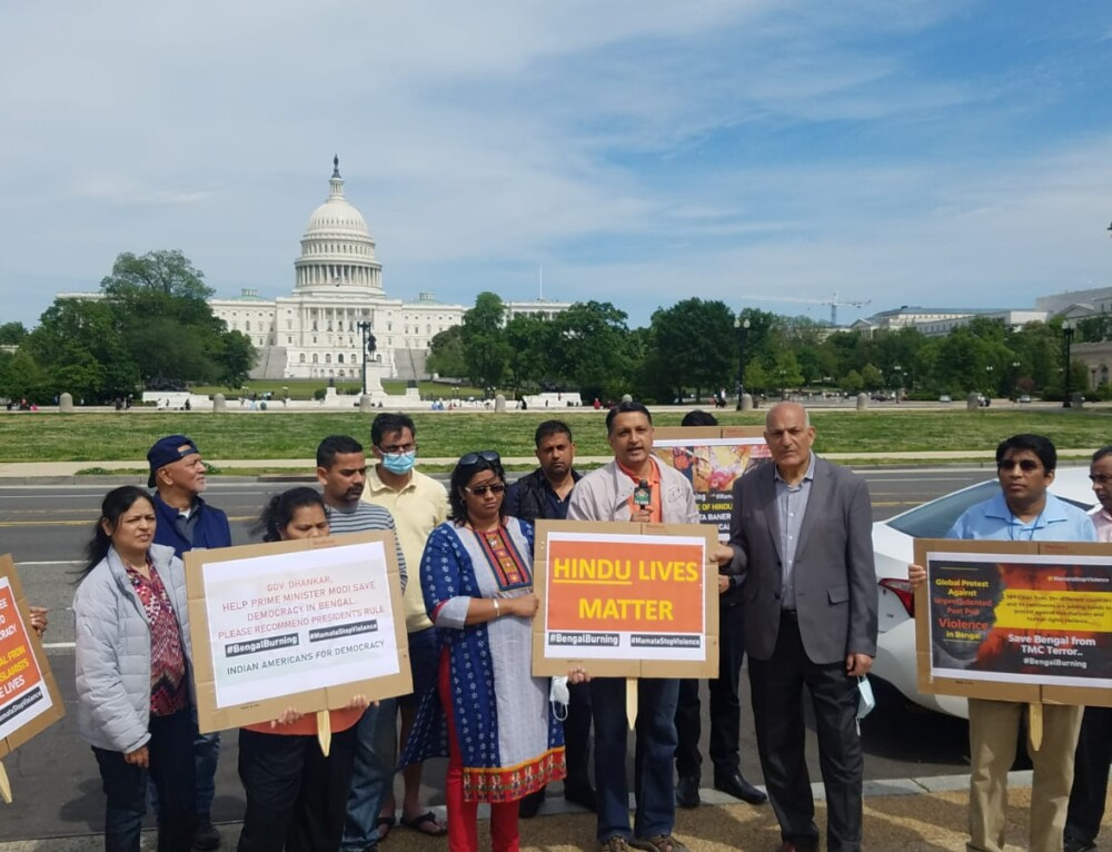 Vigil by Hindus of DC on poll violence and total break down of law and order in West Bengal, India